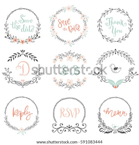 Floral Wreaths And Frames Collection Set Of Cute Hand Drawing Retro Rustic Design Elements Perfect