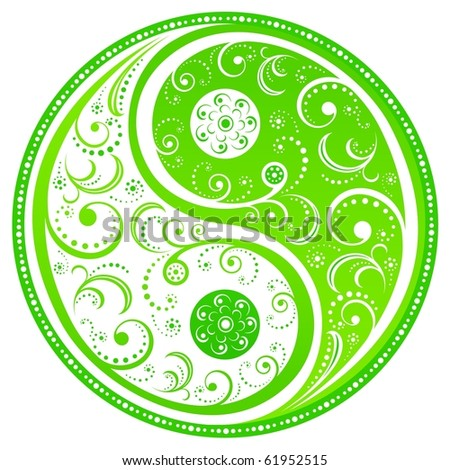 Floral Yin Yang symbol, symbol of the interplay of forces in the universe. Vector illustration. - stock vector