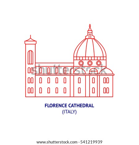Florence Cathedral, Italy, Florence, thin vector icon