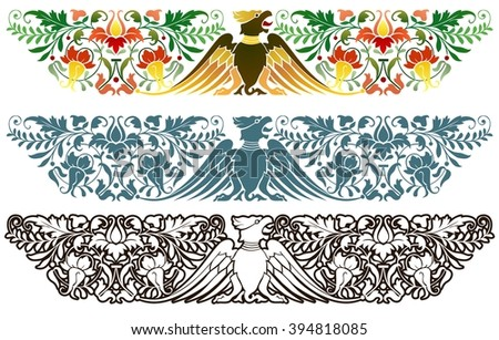 Florid ornament featuring a stylized eagle and plants Northern Renaissance Style Ornament - stock vector