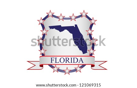 Florida crest with state map and stars - stock vector
