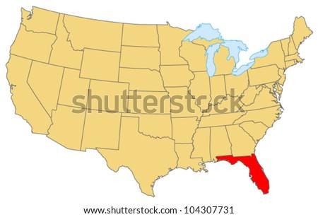 Florida Locate Map - stock vector