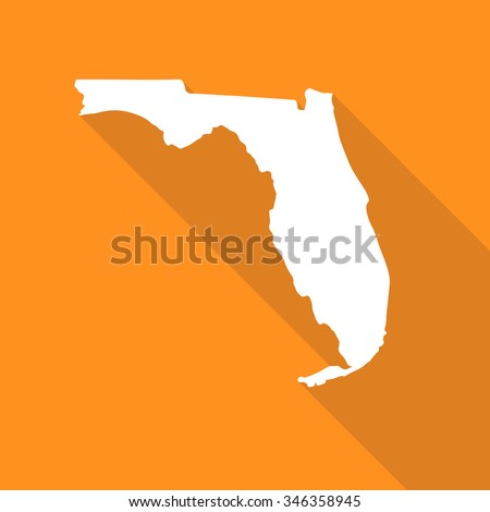Florida map flat simple style with long shadow.