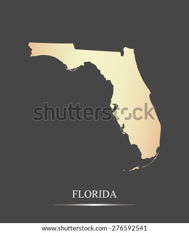 Florida map outlines in an abstract grey background, a black and white map of State of Florida in USA - stock vector