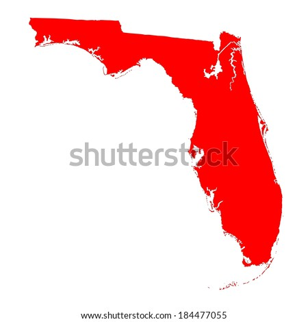 Florida red vector map isolated on white background. High detailed vector illustration. - stock vector
