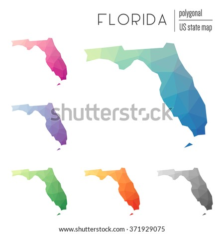 Florida state map in geometric polygonal style. Set of Florida state maps filled with abstract mosaic, modern design background. Multicolored state map in low poly style - stock vector
