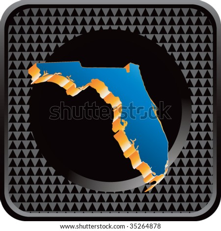 florida state shape on checkered web icon - stock vector