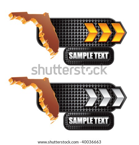 florida state shape on gold and silver arrow nameplate banners - stock vector