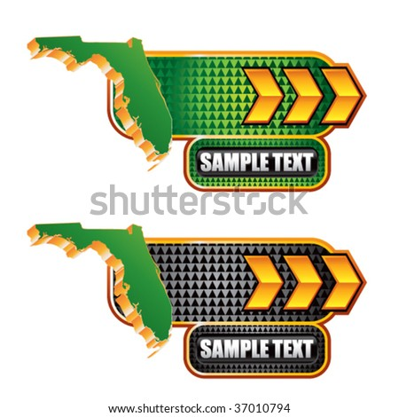 florida state shape on gold arrow banners - stock vector