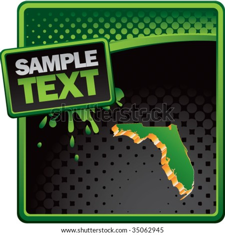 florida state shape on green grunge template banner - stock vector