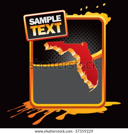 florida state shape on orange grungy advertisement - stock vector