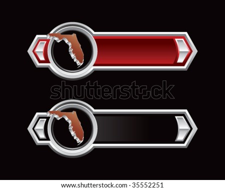 florida state shape on red and black tabs - stock vector