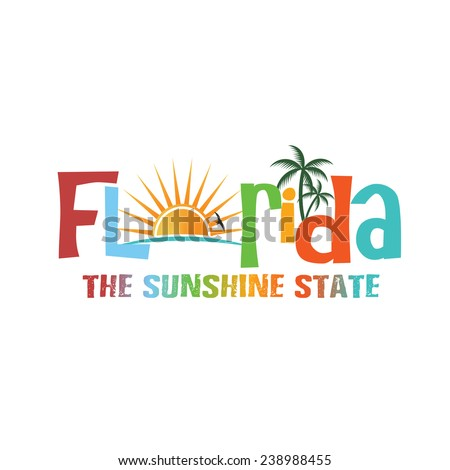 Florida theme name. Vector design - stock vector