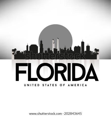 Florida United States of America skyline silhouette, vector illustration. - stock vector
