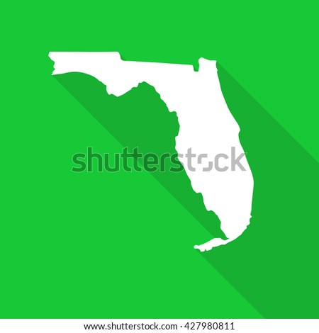 Florida white state map,border flat simple style with long shadow on green background