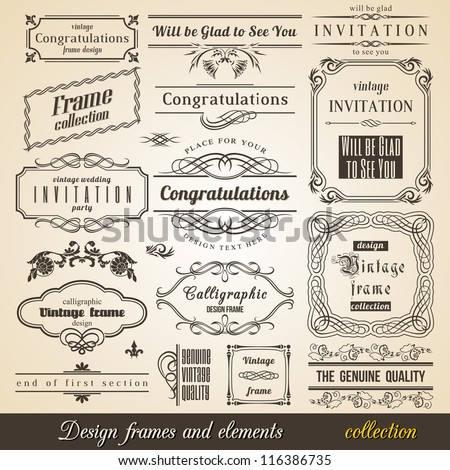 Flourish Border Corner and Frame collection. Vector Card Invitation text. Victorian Grunge Calligraphic Frame Collection. Wedding Invitations Set. Medieval Ornament Borders. Flower and Leaf Silhouette - stock vector