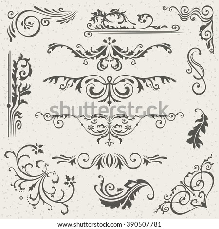Flourish Border Corner and Frame Elements Collection. Vector Card Invitation Elements. Victorian Grunge Calligraphic. Wedding Invitations Set. Medieval Ornament Borders. Flower and Leaf Silhouette - stock vector