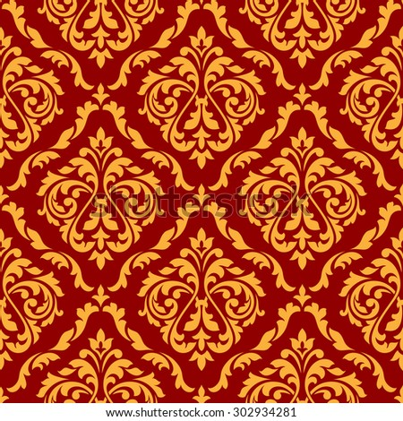 Flourish seamless pattern of orange damask ornament with stylized leaf scrolls and dainty flowers on red background, for interior or textile design - stock vector