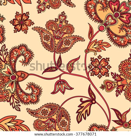 Flourish tiled pattern. Floral oriental ethnic  background. Arabic ornament with fantastic flowers and leaves. Wonderland motives of the paintings of ancient Indian fabric patterns. - stock vector