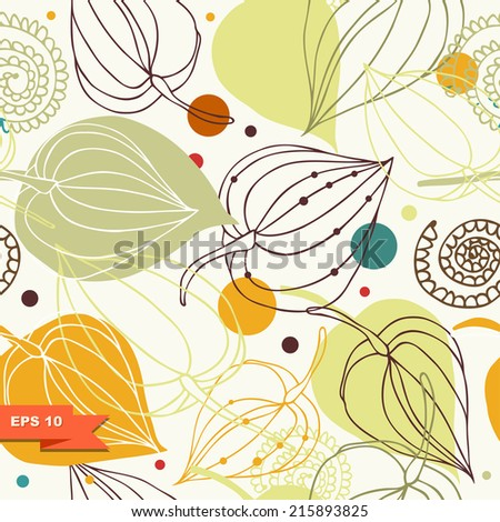 Flourish vintage seamless pattern. Lace background with flowers. Light ornamental background - stock vector