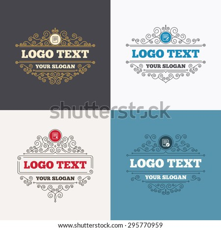 Flourishes calligraphic emblems. File document icons. Download file symbol. Edit content with pencil sign. Select file with checkbox. Luxury ornament lines. Vector - stock vector