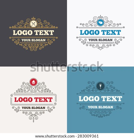Flourishes calligraphic emblems. Food icons. Muffin cupcake symbol. Fork and knife sign. Glass of champagne or wine. Slice of cheese. Luxury ornament lines. Vector - stock vector