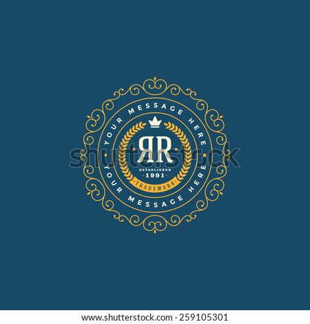Flourishes calligraphic monogram emblem template. Luxury elegant frame ornament line logo design vector illustration - stock vector