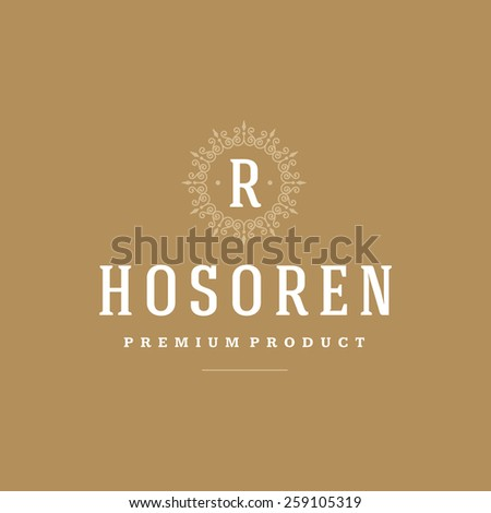 Flourishes calligraphic monogram emblem template. Luxury elegant frame ornament line logo design vector illustration - stock vector