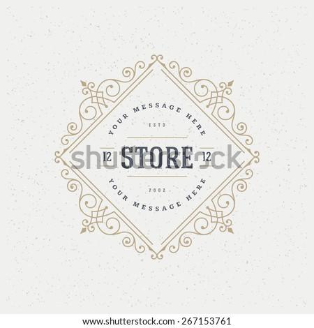 flourishes calligraphic monogram emblem template luxury elegant frame ornament line logo design vector illustration