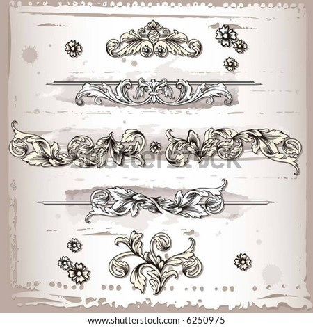 flourishes decoration elements - stock vector