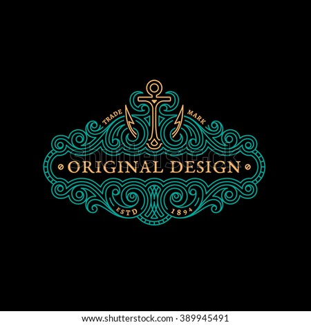 Flourishes elegant ornament label template with anchor in trendy linear style. Vector illustration. - stock vector