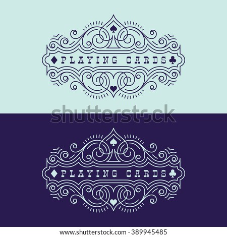 Flourishes luxury elegant ornament label template with playing card suit symbols in trendy linear style. Vector illustration. - stock vector