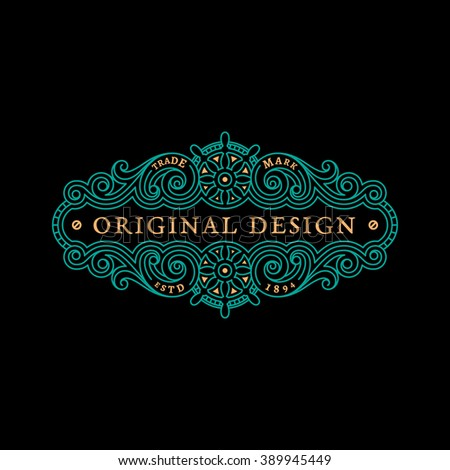 Flourishes luxury elegant ornament label template with two steering wheels in trendy linear style. Vector illustration. - stock vector
