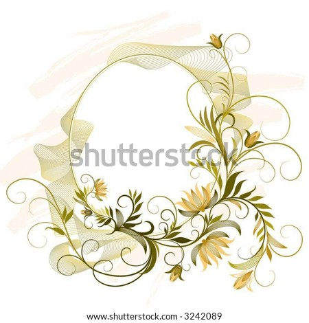 flourishes oval ornament - stock vector