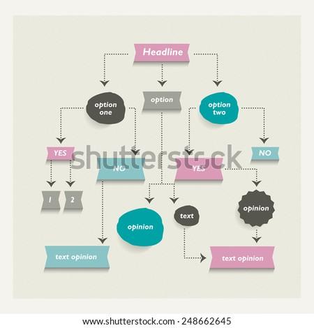 Flow chart diagram, scheme. Infographic algorithm alelement. - stock vector