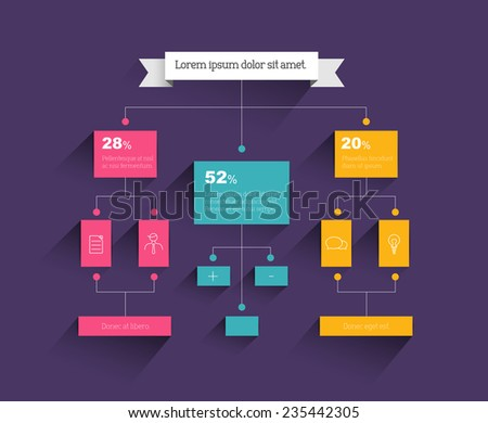 Flow chart. Infographic element. Vector flat design. - stock vector