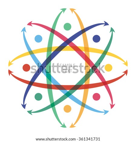 Flow concept with color arrows. Abstract illustration for your design. - stock vector