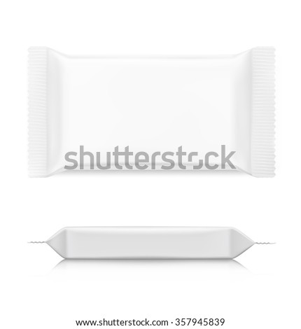 Flow pack with realistic transparent shadows on white background. Vector template ready for your design. - stock vector