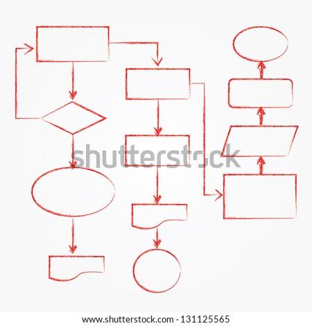 Flowchart, red drawing,vector - stock vector