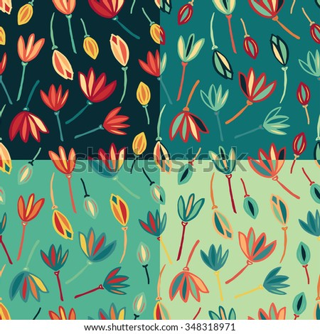 Flower abstract seamless pattern background vector. Floral textile pattern.