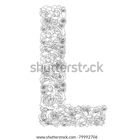 Flower alphabet of red roses, characters L - stock vector