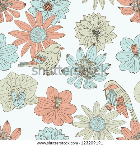 flower and bird seamless pattern