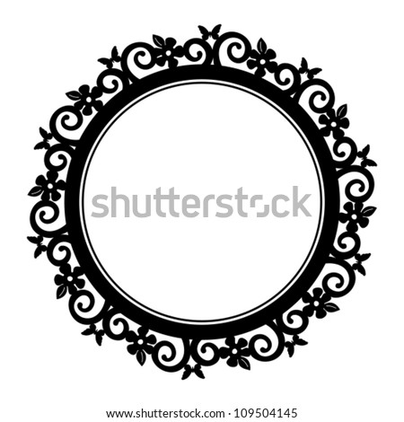 flower and butterfly circle frame