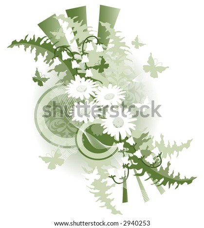 Flower and butterfly vector illustration. - stock vector
