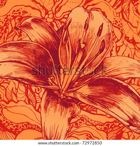 flower and floral background, engraved retro style. vector illustration - stock vector