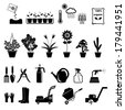 Flower and Gardening Tools Icons set - stock vector