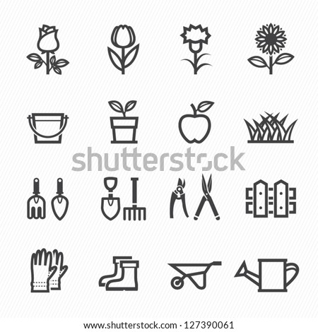 Flower and Gardening Tools Icons with White Background - stock vector