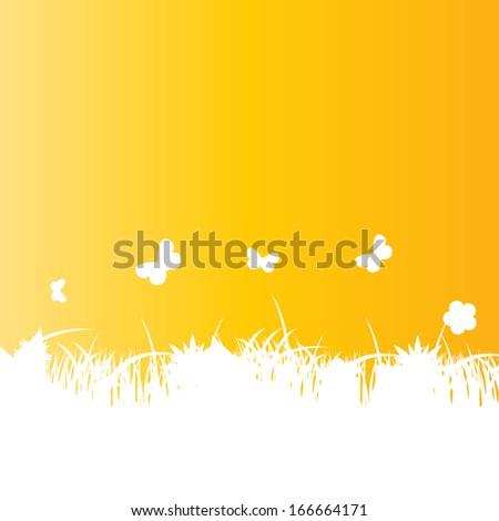 Flower and grass banner. vector illustration - stock vector