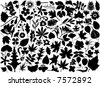 flower and leaf set vector - stock vector