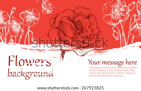 Flower background color. Sketch converted to vectors.  - stock vector